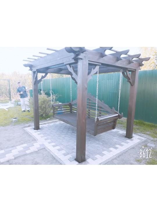 Качели-пергола садовые с подвесным диваном