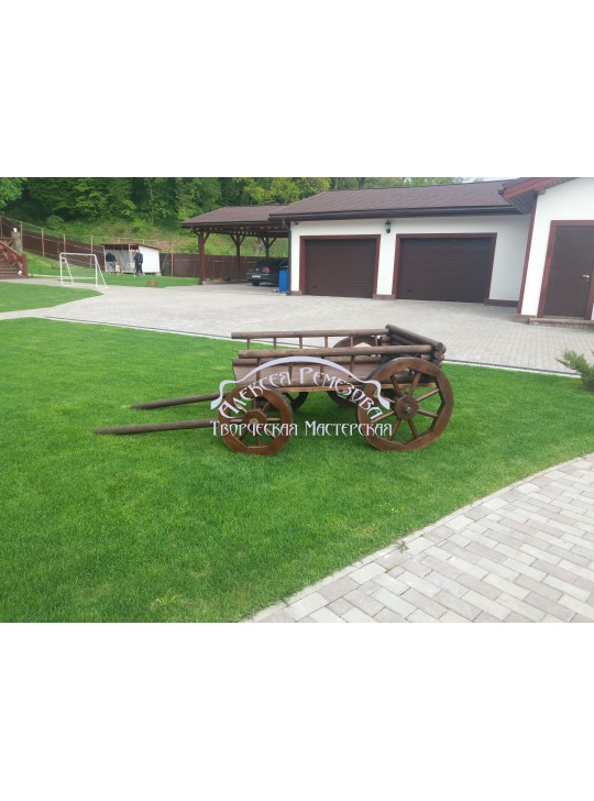 Телега садовая из дерева модель 001