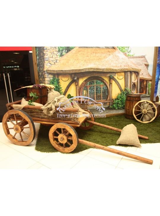 Телега садовая из дерева модель 012